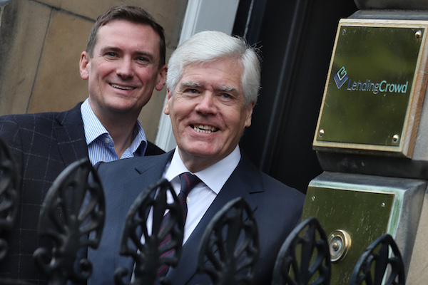 LendingCrowd CEO Stuart Lunn, left, with Sir Sandy Crombie. Picture: Stewart Attwood