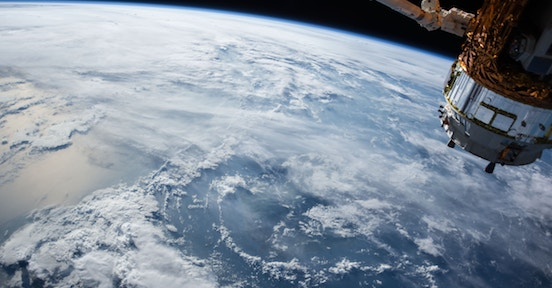 Satellite in orbit above the Earth
